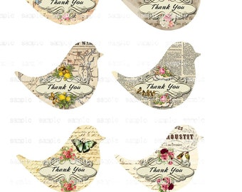Instant Download   Thank You Bird Tags -  Printable Digital Collage Sheet - Digital Download