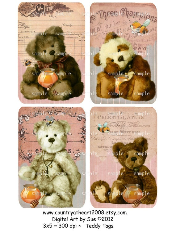 Instant Download - Teddy Tags -  Digital Download - Printable  Digital Collage Sheet