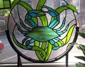 "Stained glass panel - ""Blue Crab"" (D-3)"