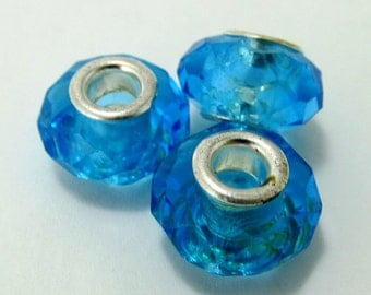 Turquoise Faceted Glass Big-Holed Rondelle Beads - Set of Three