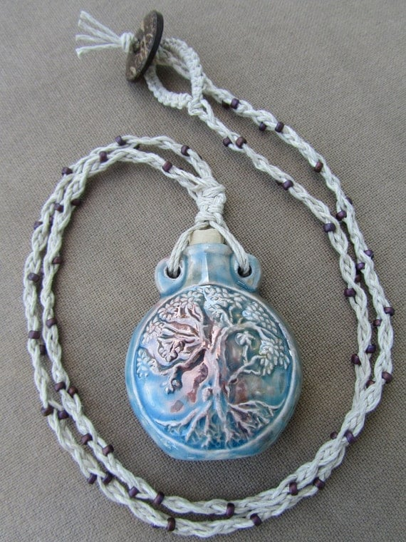 Tree of Life Bottle Hemp Macrame Necklace - Natural Hippie Bohemian