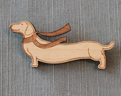 Dachshund and Scarf Pin - winter wiener dog brooch stocking stuffer