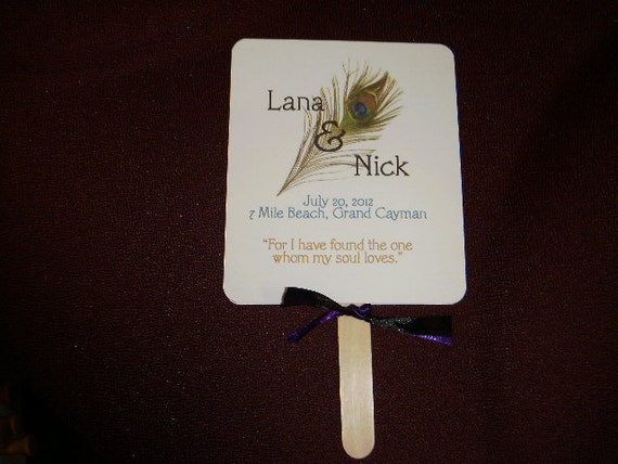 Peacock Wedding Fan Programs with Ribbon and Personalized