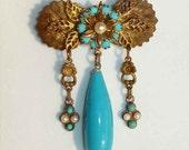 Vintage 20s Bohemian Brooch Turquoise Drop Girandole Rhinestone Czech Glass Floral Pin