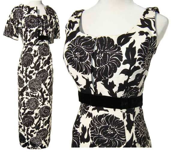Vintage 50s Dress Cocktail Gown Bolero Jacket Black & White Floral Fishtail M