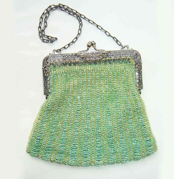 Vintage Beaded Purse Green Antique Flapper Swag Bag Silk Evening Cocktail Handbag Art Deco Pocketbook