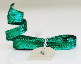 "Deep Discount Clearance! 3/8"" 10 yard roll of Green Metallic Wired-Edge Ribbon"