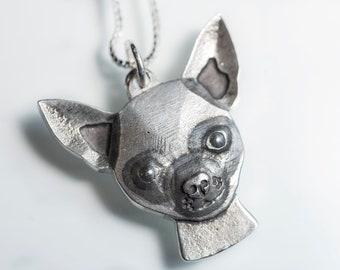 Chihuahua Necklace Jewelry Sterling Silver Pendant Personalized