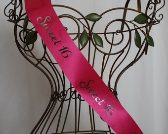 All Over Print Sweet 16 Sash - Choose Color Combo