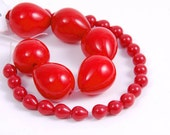 Craft Supplies, Red Teardrop Vintage Lucite Pendant Beads for Necklaces and Earrings - 2 sizes