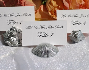 Place Card Holders + Beach Wedding + Silver SeaShell place card holders (assorted) Set of 100