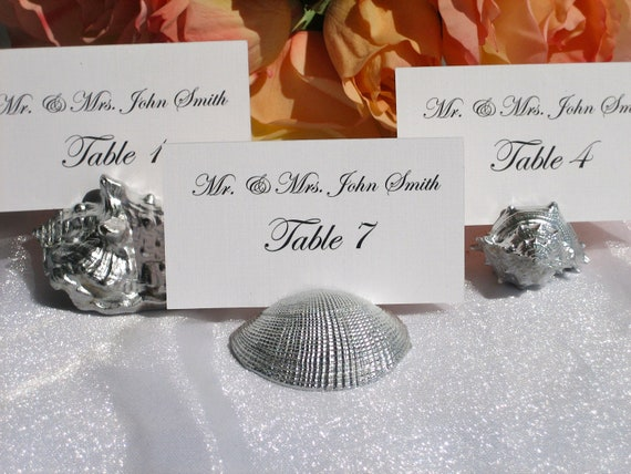 Assorted Silver shell place card holders- set of 35