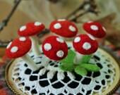 Six eco  friendly wool mushroom pins... choice of color