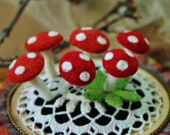 Six eco  friendly wool mushroom pins... choice of color
