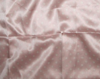 Silk Charmeuse Fabric - Baby Pink POLKA DOTS - 1 Yard