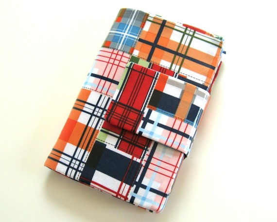 Kindle Fire Cover Stand in Plaid Coated Cotton Ready to Ship clearance