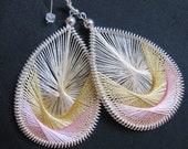 HINT OF PINK- thread woven earrings by Funky Lobez