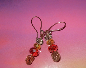 Hammered Copper and Crystal Pierced Earrings