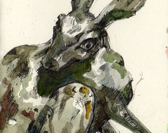 Frantic Hare Original Watercolor Painting of Green Rabbit by Jen Tracy