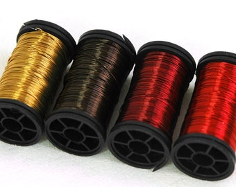Colored wire earth Autumn fall colors 28 Gauge - 4 spools - red wine, red, brown, mustard