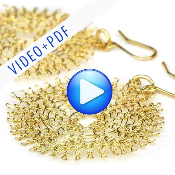 Wire Jewelry Crochet Pattern of YoolaFlower, ONLINE  VIDEO pattern and a PDF file