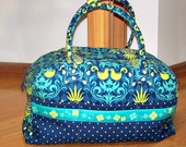 Marieliz Overnight Bag made in BLUE Andalucia Fabrics by Patty Young -- ready-made and ready to ship