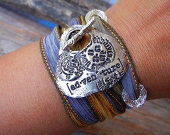 Adventure Jewelry, Cool Travel Silver Jewelry, Silver Silk Wrap Bracelet, Postmark Travel Jewelry, Postmark Bracelet, Unique Wrap Bracelet