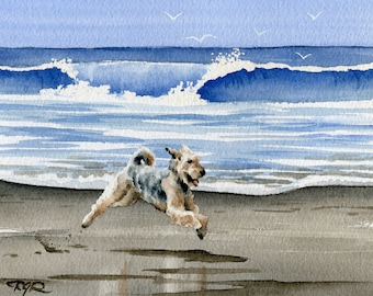 "AIREDALE TERRIER Art Print ""Airedale Terrier At The Beach"" Watercolor Signed by Artist DJ Rogers"