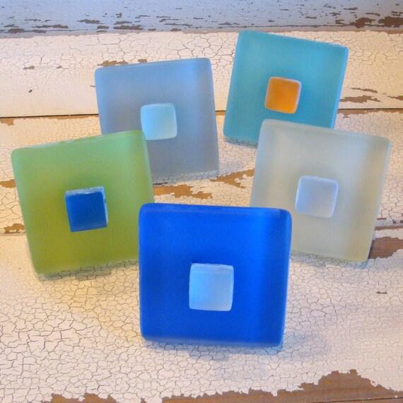 Cabinet Knobs Sea Glass Tile Drawer Pulls Beach Decor