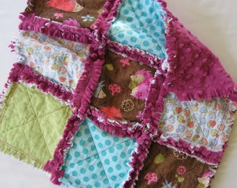 SALE Hedgehog Raspberry Rag Quilt Lovey Blanket