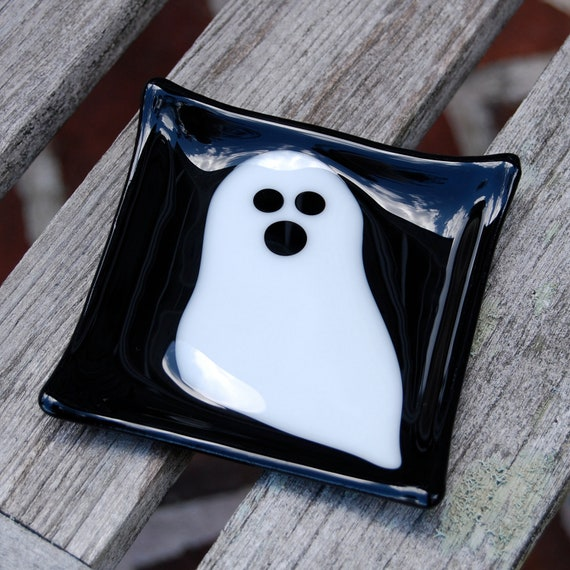 Reserved for Alia - SALE Ghost Halloween Fused Glass Dish, Candy Dish, Soap Dish, Decoration