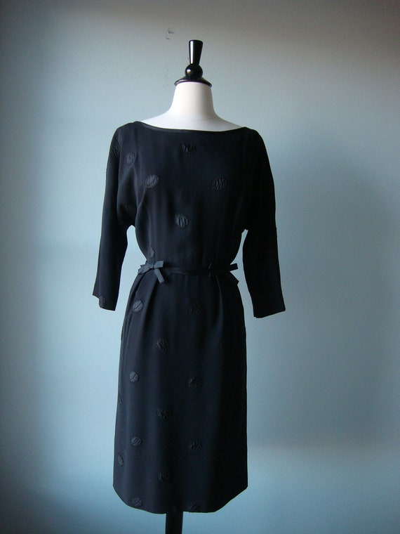 Vintage 50's Dress // Black with Leaf Appliques