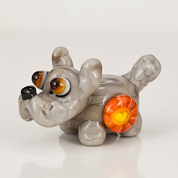 Gray Schnauzer Love Lampwork Glass Bead