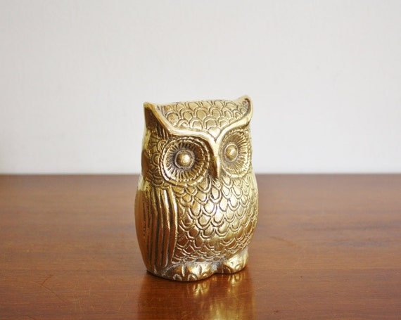 Large vintage brass owl coin bank