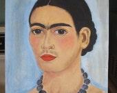 Blue Frida portrait of Frida Kahlo Mexican artist