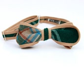 hunter plaid bow tie- tan