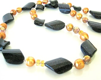Necklace - Gold stone - Mother of Pearl - Swarovski Crystal - Sterling silver
