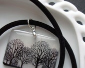 Trees necklace, nature necklace , black and white , trees through the fog  resin necklace , gifts under 30