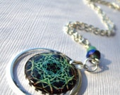 Snowflake necklace number 80 , resin necklace , teal , blue , green,  holiday gift under 30