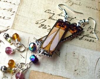 stained glass window earrings, resin earrings, dangle earrings, gifts under 20