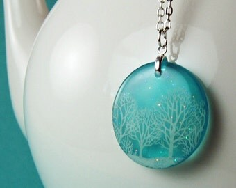 Winter blue snow day ,resin necklace, twinkling sky necklace, snow day series necklace, sparkly necklace , gifts for her gifts under 30