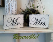 Wedding Signs, Mr and Mrs Signs, Sweetheart Table Signs, MINI REVERSIBLE SIGNS, ps I love you, I love you more, 3 1/2 x 5