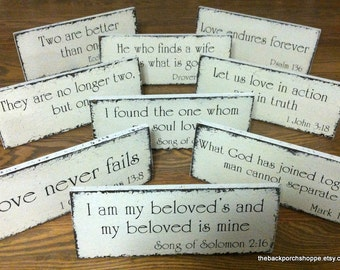 WEDDING SIGNS, Wedding Table Signs, Bible Quotes, Bible Quote Signs, Self Standing, 4 3/4 x 12