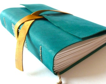 Personalised Leather Journal, Teal