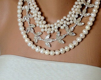 NEW Summer Weddings Chunky Bridal Freshwater Pearl and Rhinestone Necklace