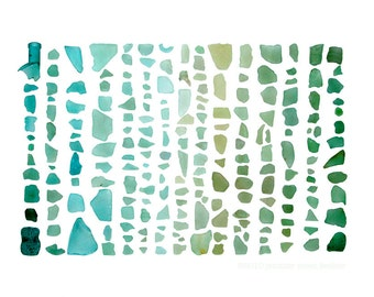 Seaglass Spectrum: Aquamarine to Emerald - 8 x 10 photograph