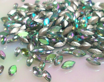 6 10x5mm Aqua AB Navettes West German Faceted Silver Foiled Navettes aqua ab jewels aqua ab marquis aqua ab rhinestones