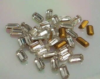 12 10x5mm Crystal Baguettes TTC Vintage Swarovski TTC 10x5mm Baguettes Crystal Color