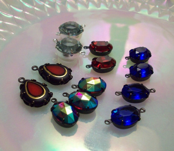 13 Pcs - Mixed Lot Of Glass Jewels Preset in One and Two Ring Blackened brass Settings See Listing for Details