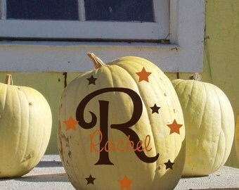 Pumpkin Monogram initial set stickers Name with Stars